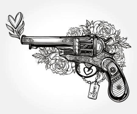 tattoo gun vintage drawn gun flower pencil and in color drawn gun flower