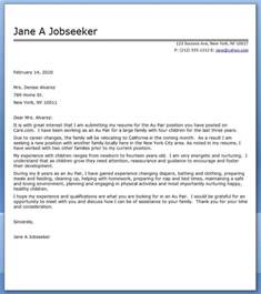 au pair cover letter sle resume downloads