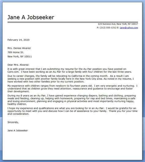 Cover Letter Email Australia Au Pair Cover Letter Sle Resume Downloads