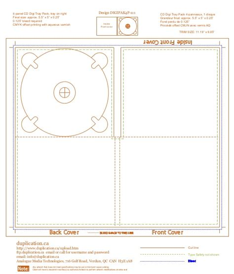 cd tray template digipak template