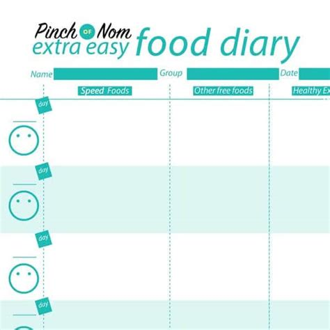 easy printable food journal 7 day slimming world meal plan syn free extra easy