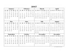 2017 Calendar Template by 2017 Blank Yearly Calendar Template Free Printable Templates