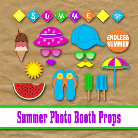 printable photo booth props luau graduation end of items similar to summer photo booth props and decorations