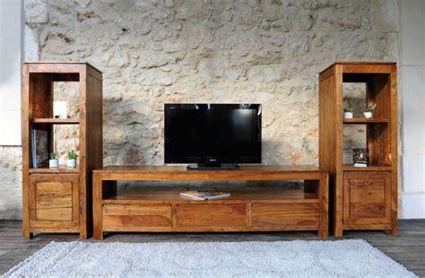 table tele en bois meuble t 233 l 233 bois exotique acacia 3 tiroirs guntur 3511