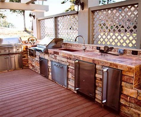 3 types of outdoor kitchens equipped with a sink and garbage disposal a refrigerator maker trash compactor three