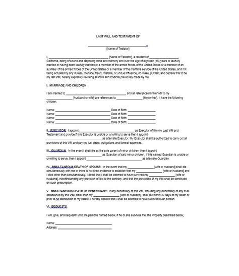 last wills and testaments free templates 39 last will and testament forms templates template lab