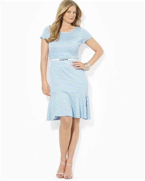 Rl Dress Glowing Blue lyst ralph plus kandence sleeve belted dress in blue