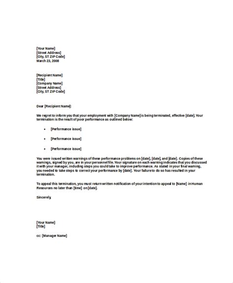 termination letter for poor customer service termination letter 15 free word excel pdf documents