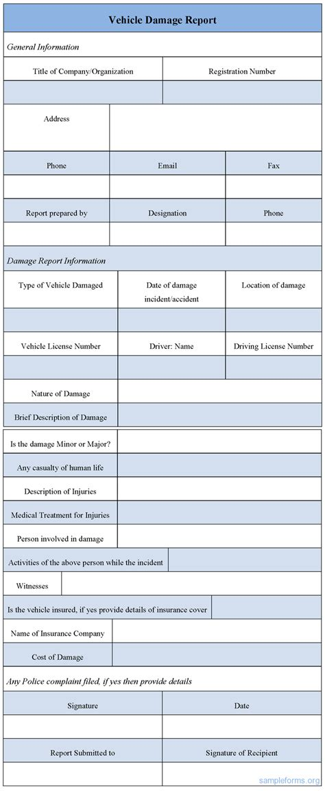 Vehicle Damage Report Form Template vehicle damage report form sle vehicle damage report
