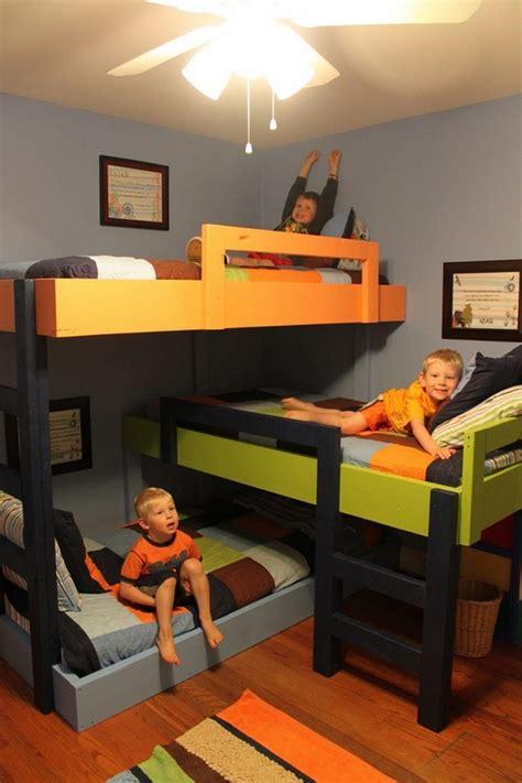 three in a bed diy triple bunk bed