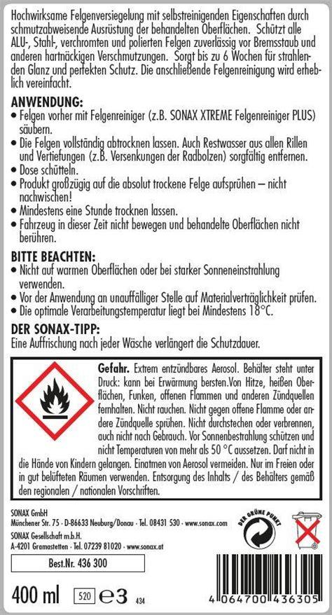 Stahl Polieren Versiegeln by Sonax Felgenversiegelung Produkte Autopflege