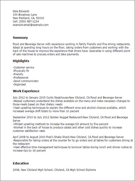 food service worker resume sle sle resumes for servers 28 images sle resume of food