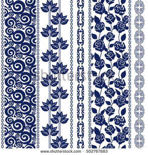 batik pattern border set lace bohemian seamless borders stripes stock vector