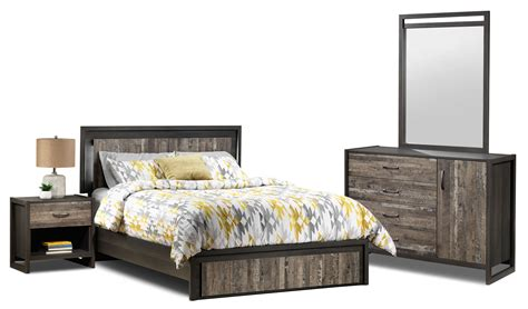 rustic bedroom furniture set hudson 5 piece queen bedroom set rustic brown leon s