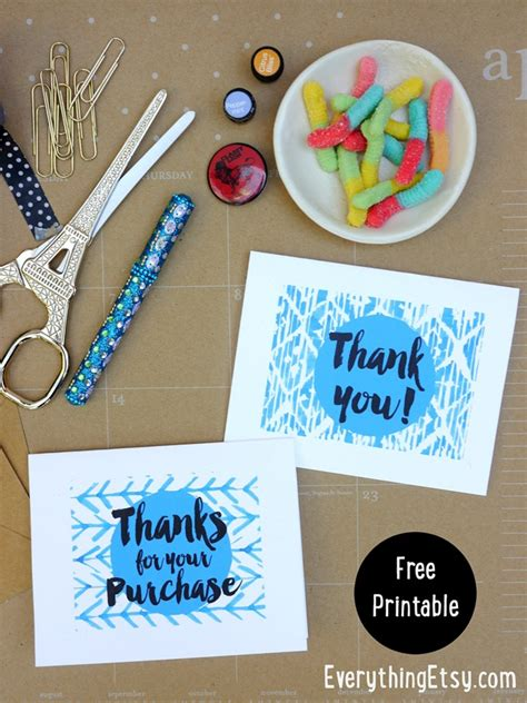 Free Etsy Gift Card 2016 - free printable thank you cards etsy business everythingetsy com