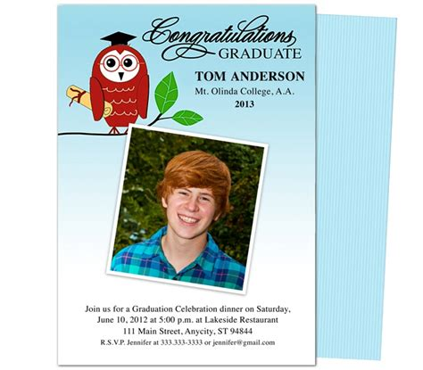 Graduation Announcements Templates Smart Owl Printable Diy Graduation Party Announcement Diy Graduation Announcements Templates Free