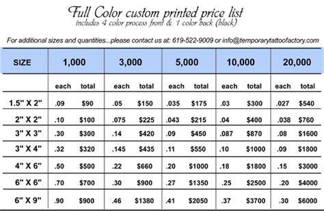 henna tattoo price list temporary tattoos mfg color custom printed price list