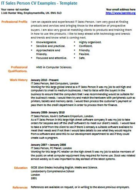 sales cv template uk it sales person cv exle learnist org