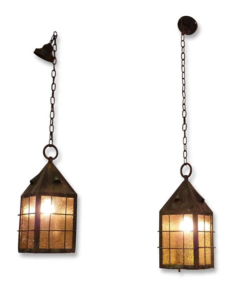 Arts And Crafts Pendant Lighting 1920s Pair Of Arts And Crafts Copper Lantern Pendant Lights With Glass At 1stdibs