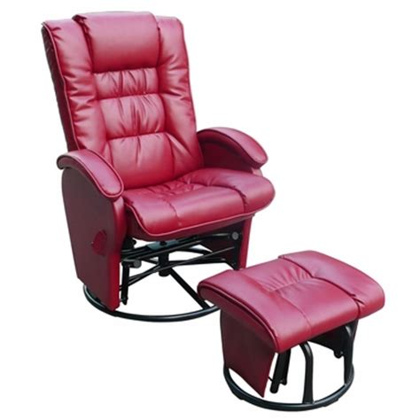 swivel rocker recliner with ottoman dezmo push back bonded leather recliner glider rocker with