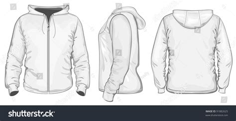 Sweater Zipper U Backfront Logo vector mens hooded sweatshirt zipper back stock vector