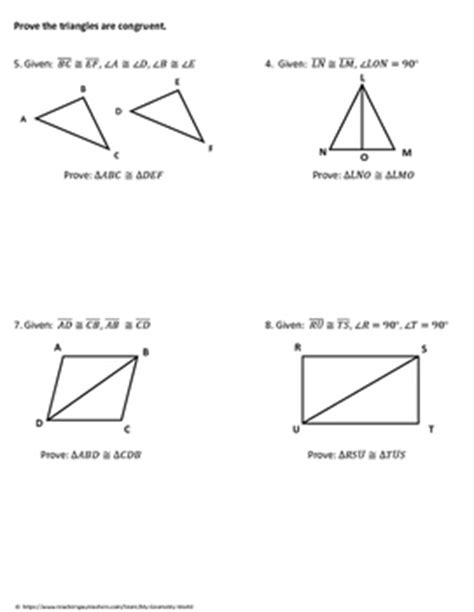 Triangle Congruence Proofs Worksheet