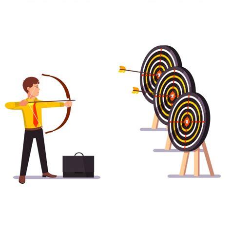 Businessman Doing A Hit Arrow Target Practice Vector