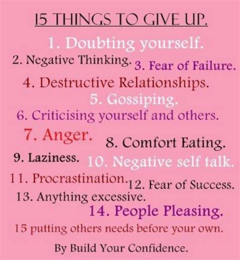 quotes and sayings the top 15 things to give up to build your self confidence