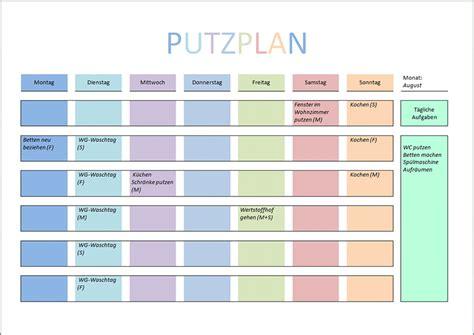 Haushaltsplan Vorlage Putzen by Putzplan Vorlage F 252 R Singles Paare Familie Wg