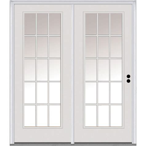 Glass Patio Doors Exterior Milliken Millwork 63 In X 81 75 In Classic Clear Glass Fiberglass Smooth Left Inswing 15