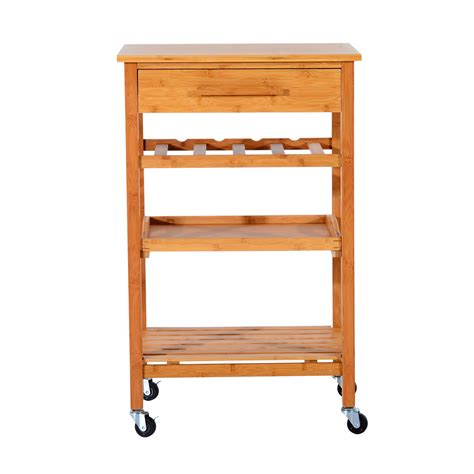 Kitchen Carts With Drawers by Homcom Kitchen Cart W Drawers Lockable Wheels
