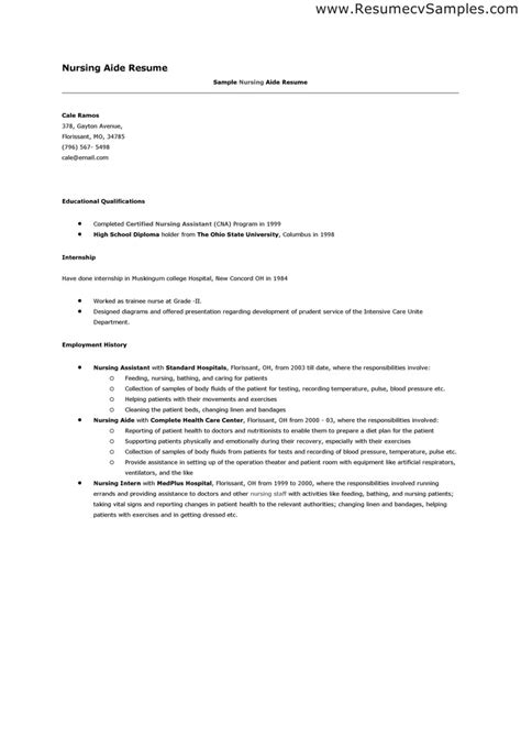 certified nursing assistant resume sle healthcare