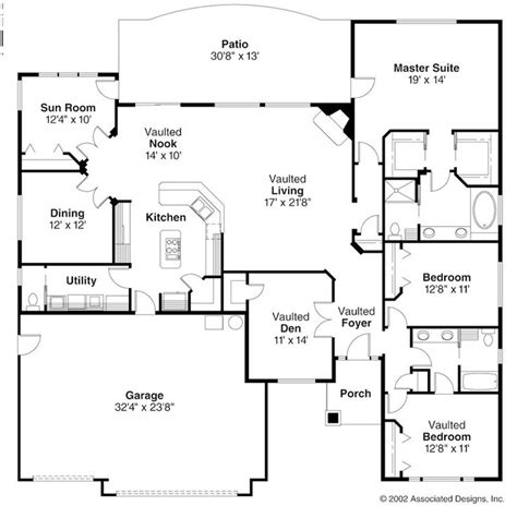 Open Floor Plan Ranch Style Homes Open Ranch Style Floor Plans Ranch Style House Plans Backyard House Plans Floor Plans