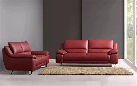 Abbyson Living Red Leather Sofa And Loveseat By Oj