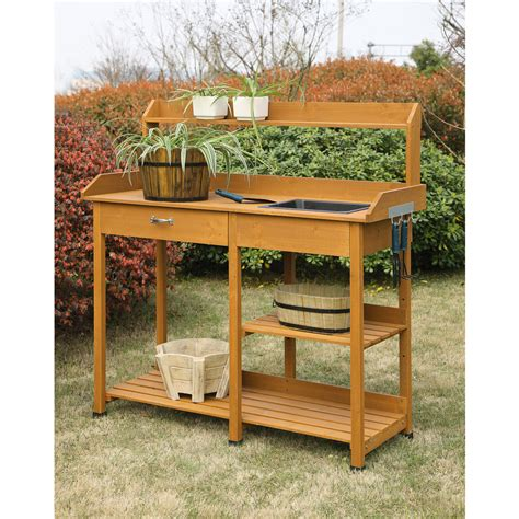 Garden Potting Bench Ideas Ideas Accent Your Garden With Splendid Potting Bench With Sink Primebiosolutions