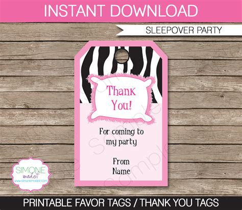 Thank You Card Template For Birthday Giveaways by Slumber Printables Invitations Decorations