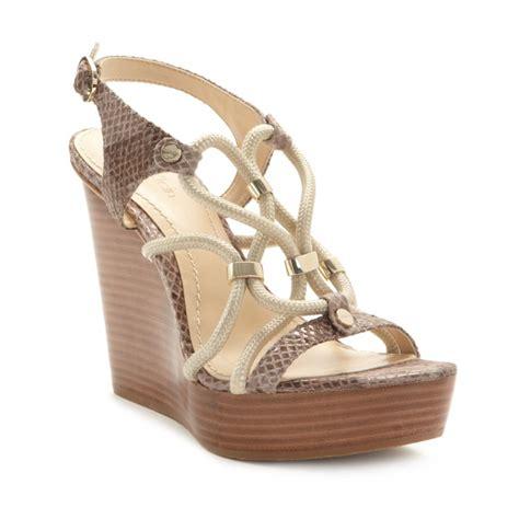 calvin klein wedge sandals calvin klein ellis platform wedge sandals in beige taupe