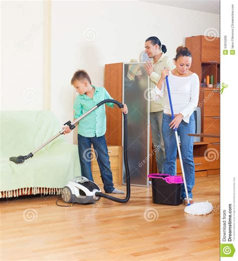 clean the house family doing house cleaning royalty free stock image
