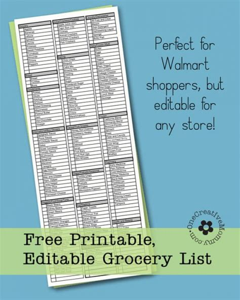 8 best images of editable grocery list printable