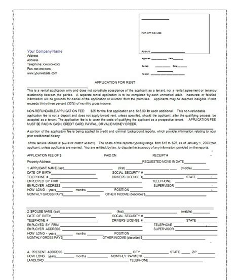 free tenant application form template 42 free rental application forms lease agreement
