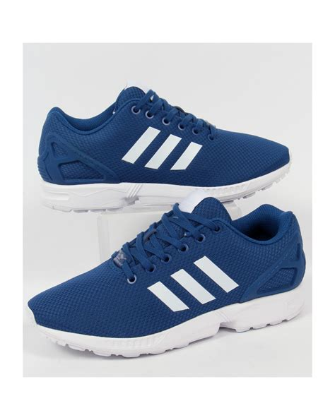 adidas zx flux patterned trainers adidas originals zx flux trainers royal blue white