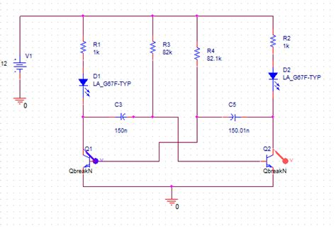 transistor lifier pspice bjt based mutivibrator pspice simulation in cadence orcad electrical engineering stack exchange
