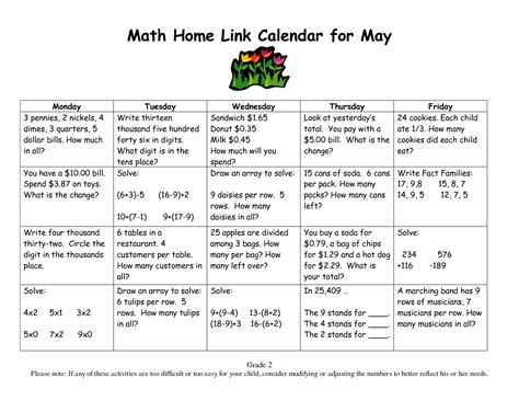 printable everyday math journal pages calendar math for third grade grade 2 everyday math home
