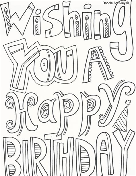 coloring pages for adults happy birthday birthday coloring pages doodle art alley