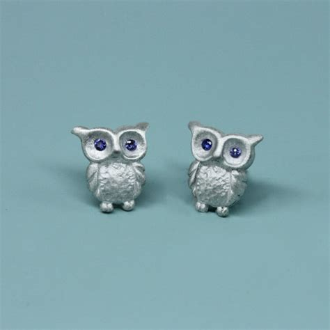 items similar to ready to ship blue sapphire eyed baby owl stud earrings in sterling silver