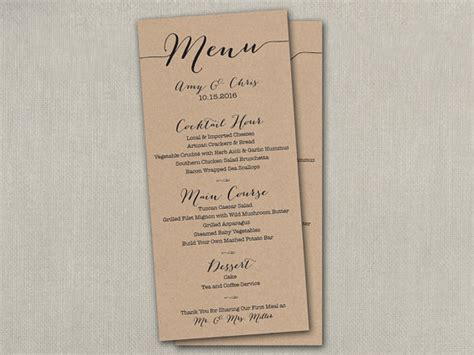 Table 9 Menu by Wedding Day Reception Table Menu Menus Size Cards 4 X 9