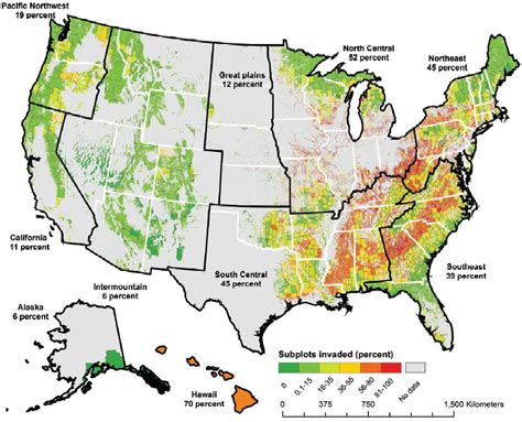 intensity map us states a big picture view of the invasive plant problem eastern