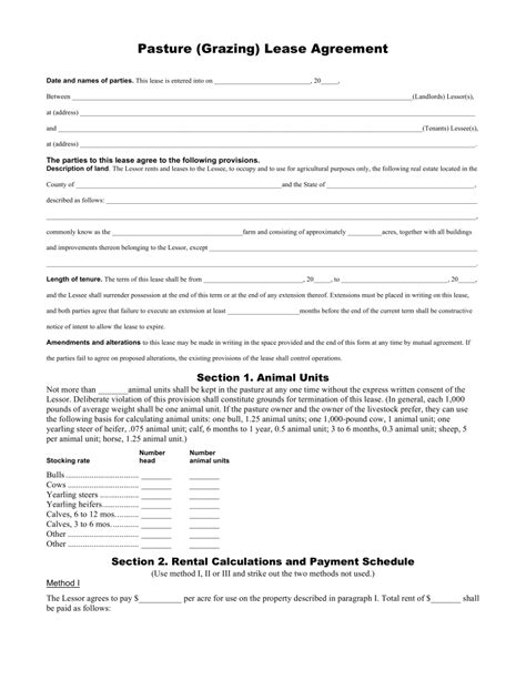 grazing agreement template free pasture grazing rental lease agreement template