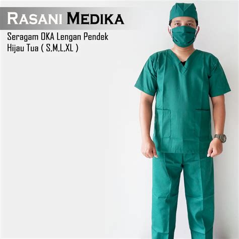 Bajuk Ok Lengan Pendek baju kamar operasi pendek baju ok hijau tua rasani medika