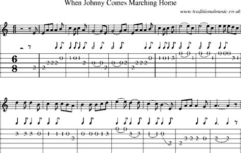guitar tab and sheet for when johnny comes marching home
